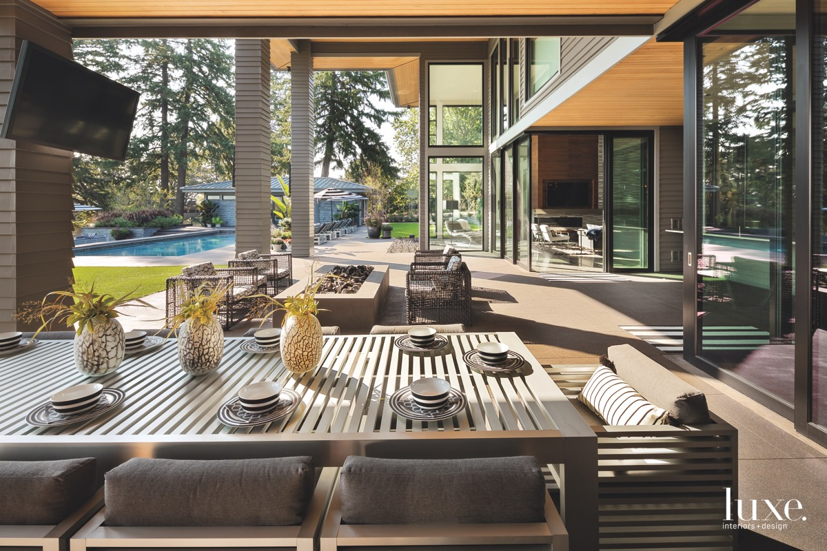 contemporary outdoor dining area by...