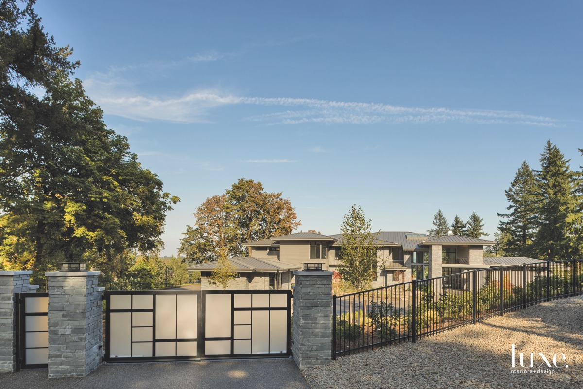 contemporary exterior and gate and...