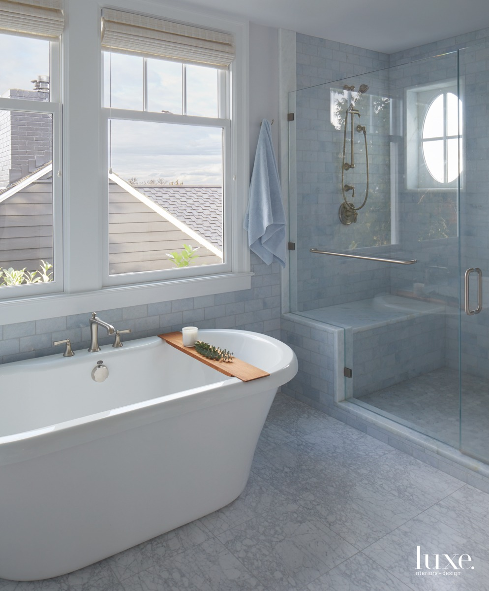 traditional pale blue bathroom