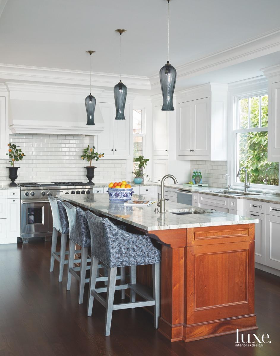 traditional kitchen white-oak flooring pedants...