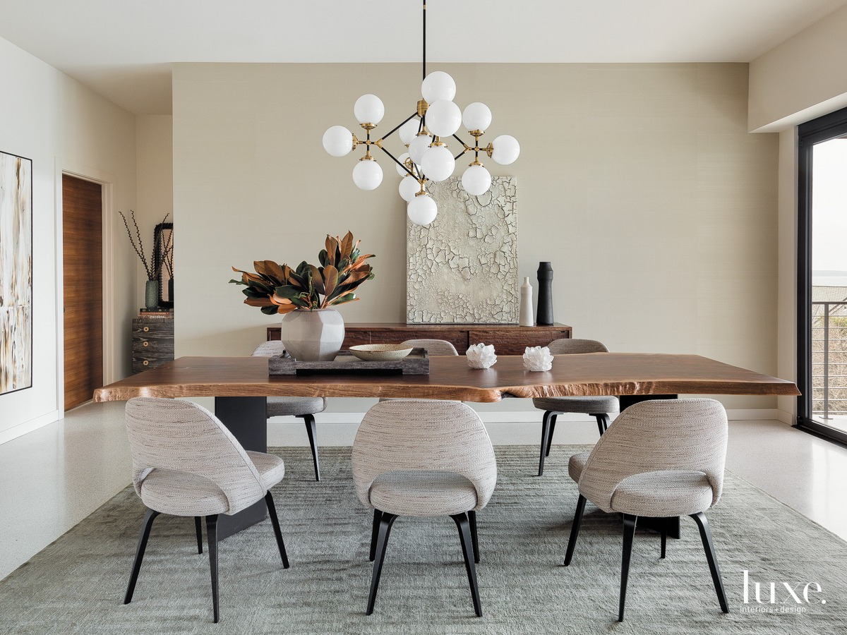 mid-century modern dining room neutral...
