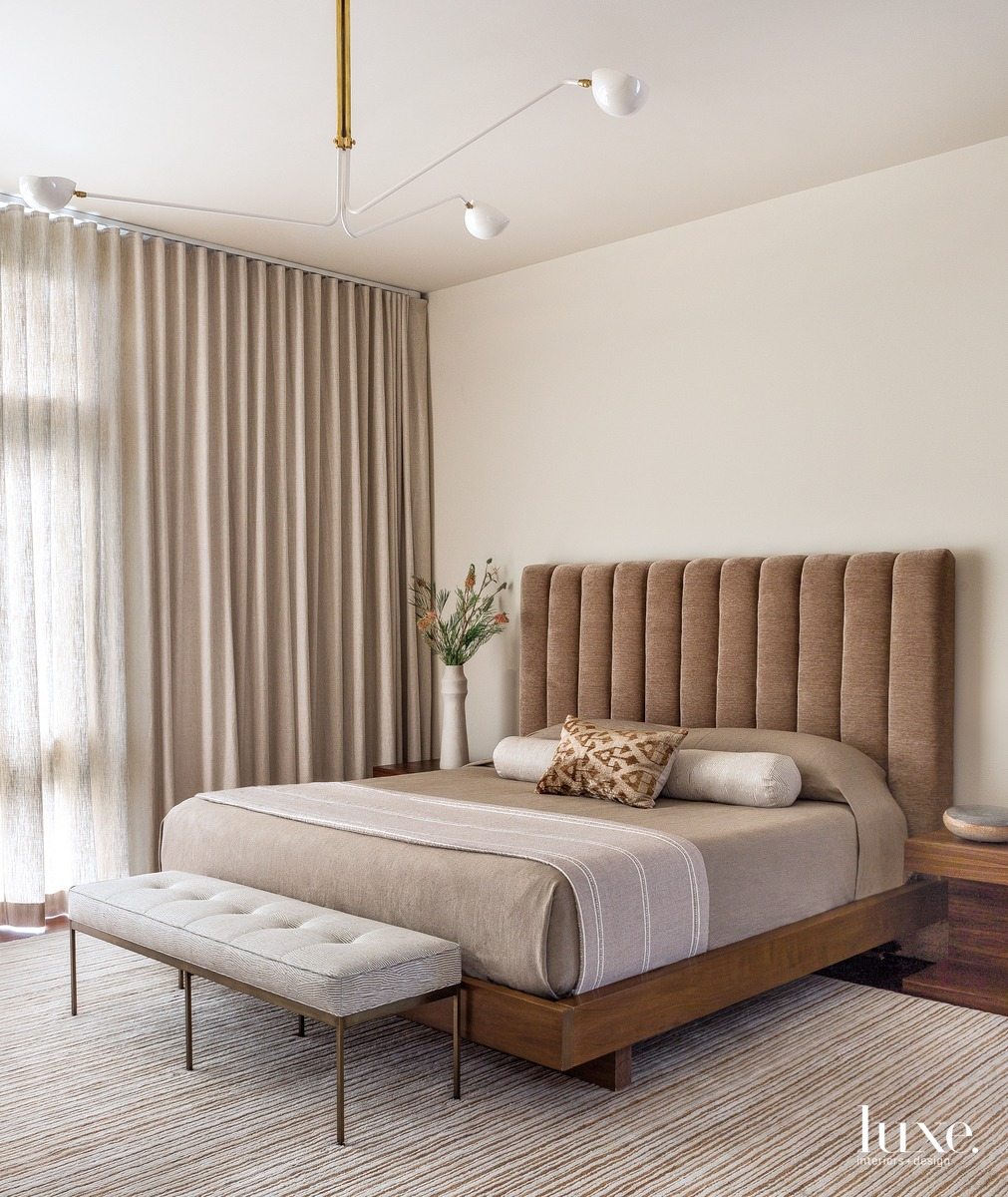 mid-century modern bedroom neutral palette