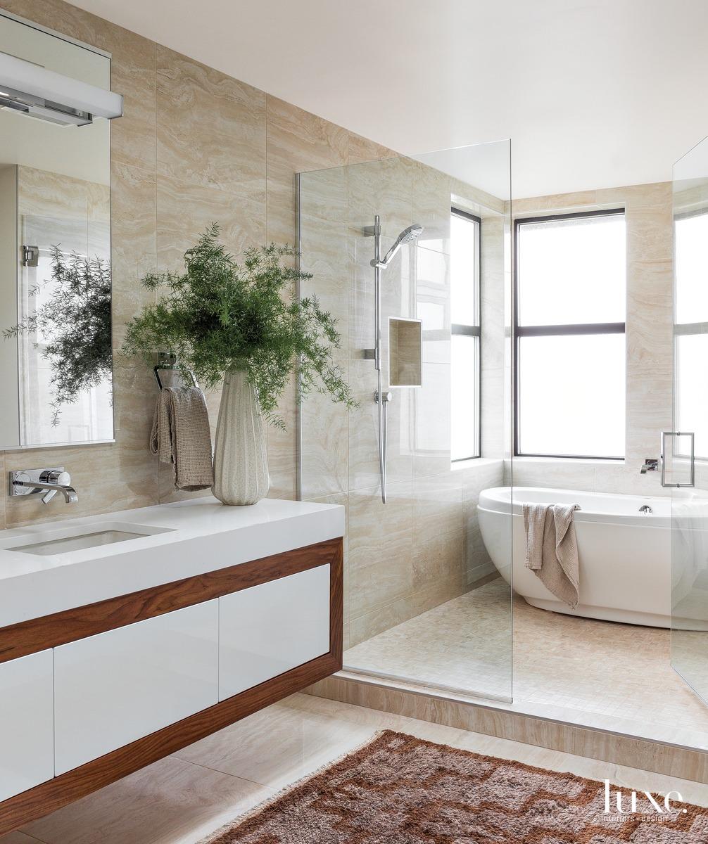 mid-century modern neutral bathroom