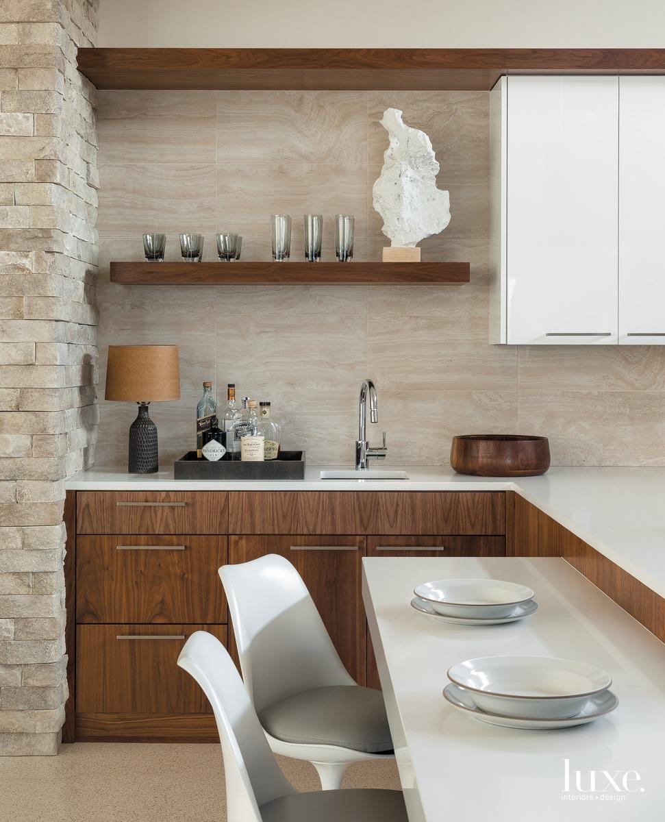 mid-century modern kitchen neutral barstools...