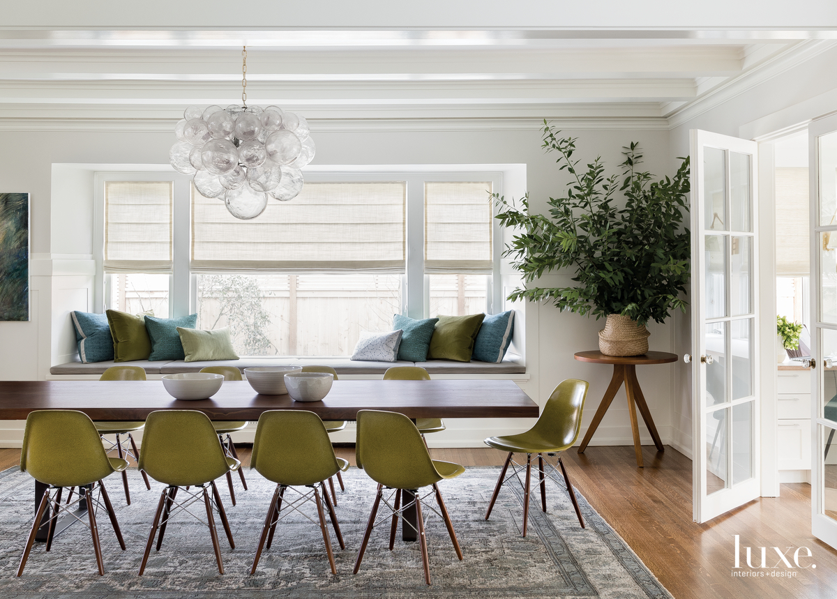 modern dining room green accents