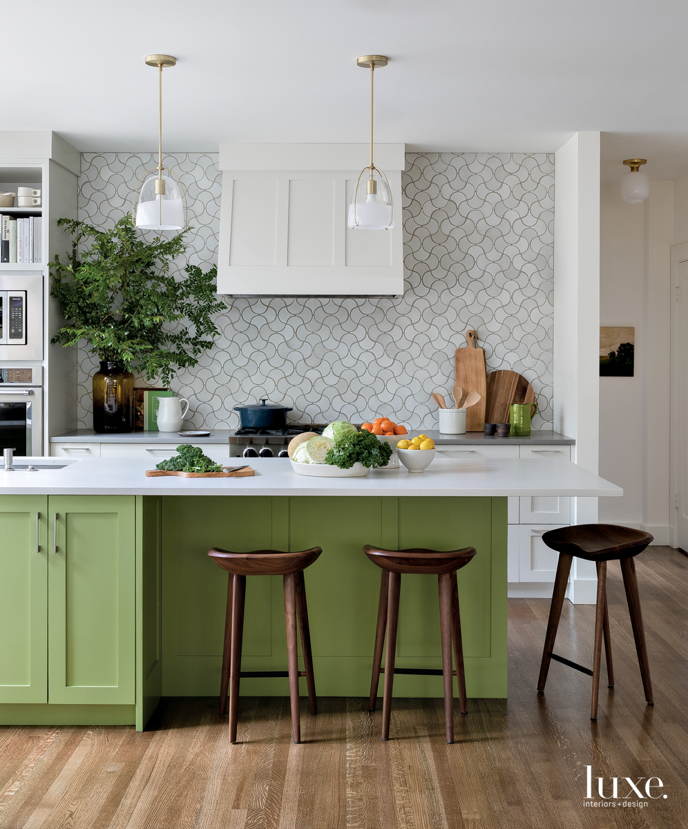 modern kitchen green island