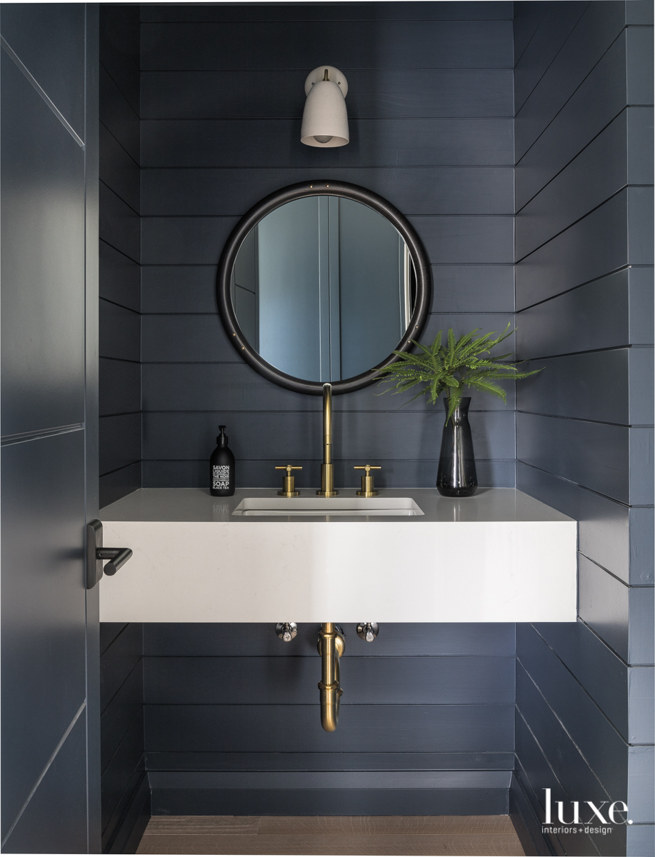 modern bathroom gray paneled walls