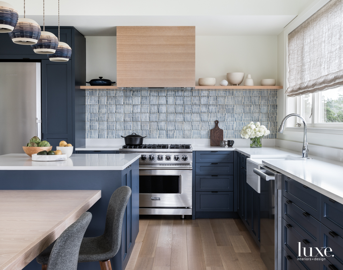 modern kitchen navy cabinetry