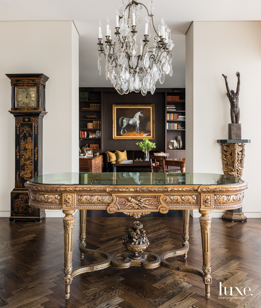 traditional foyer center console table