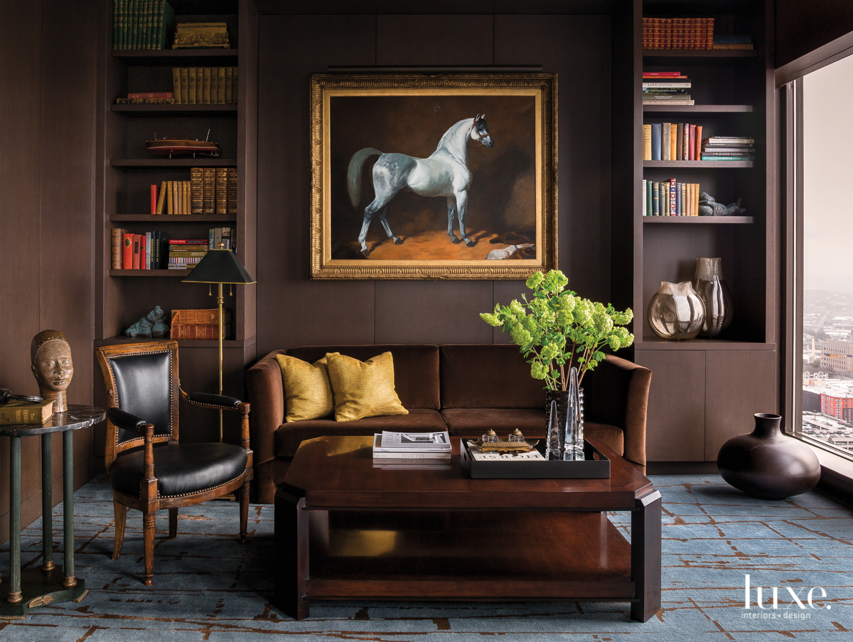 traditional library dark brown walls...