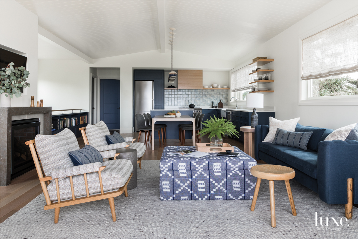 modern living room blue accents