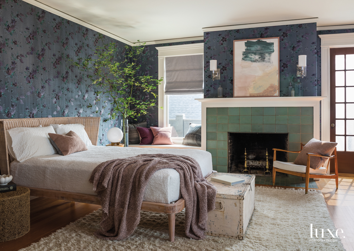 contemporary bedroom blue walls green...