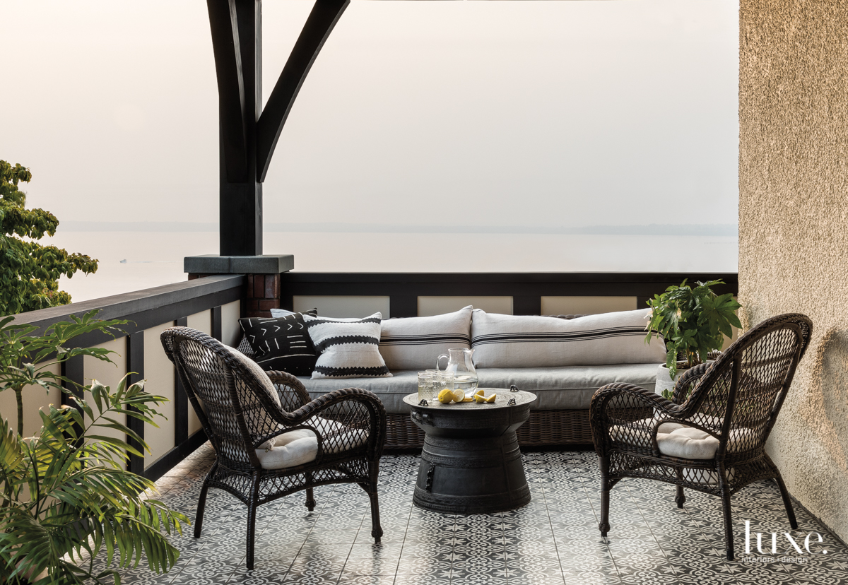 contemporary gray outdoor sitting area