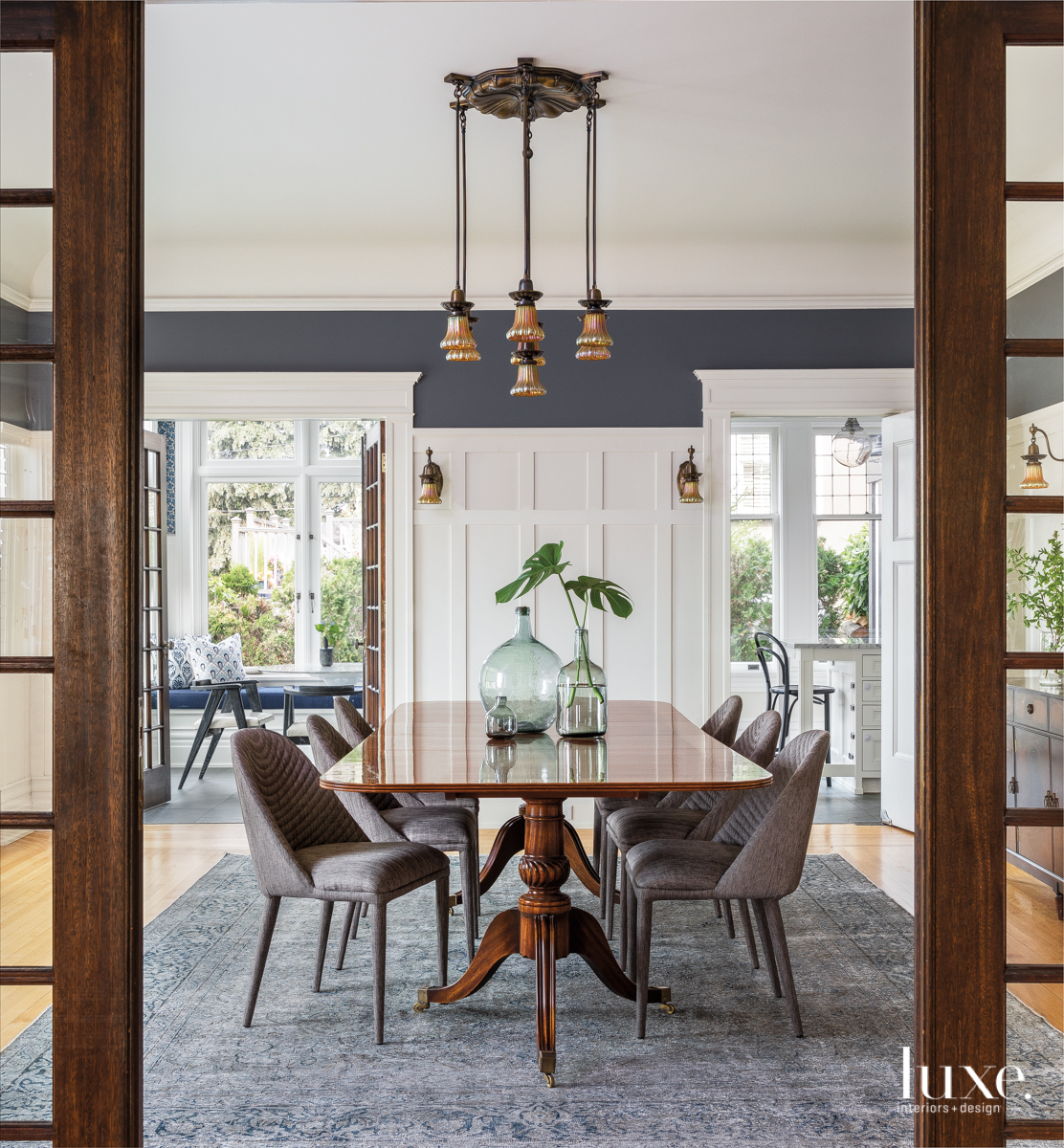 contemporary dining room brown and...