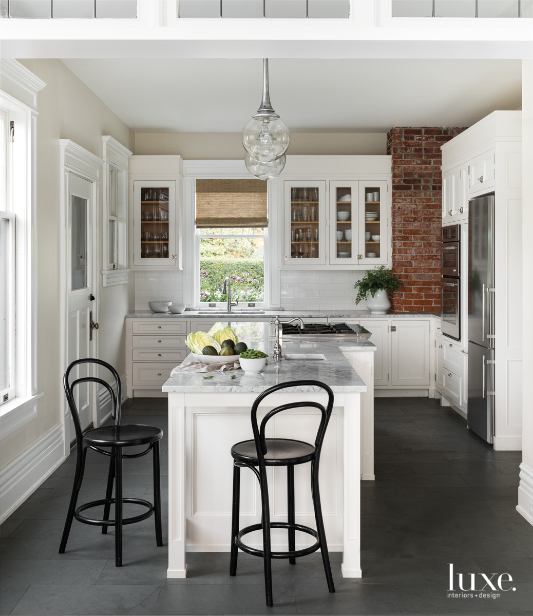 contemporary white kitchen brick