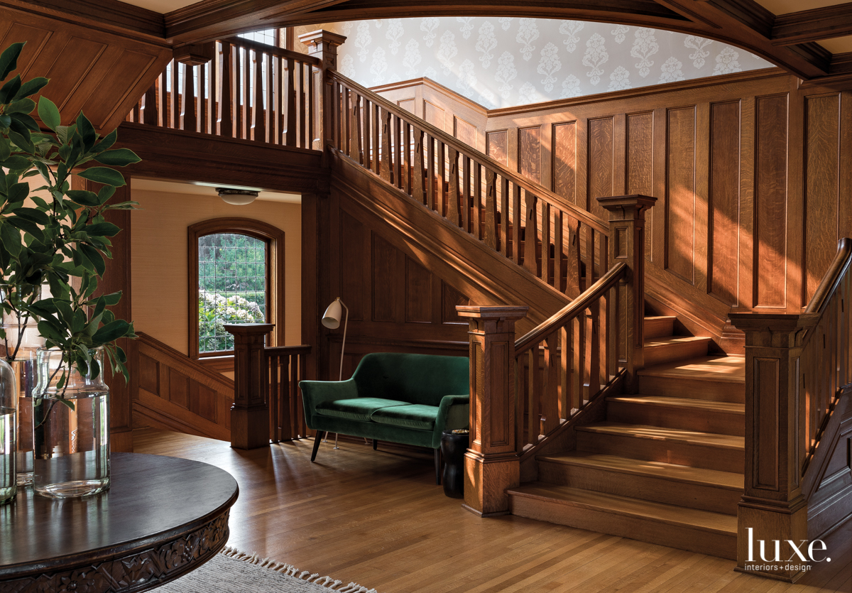 contemporary brown staircase and foyer