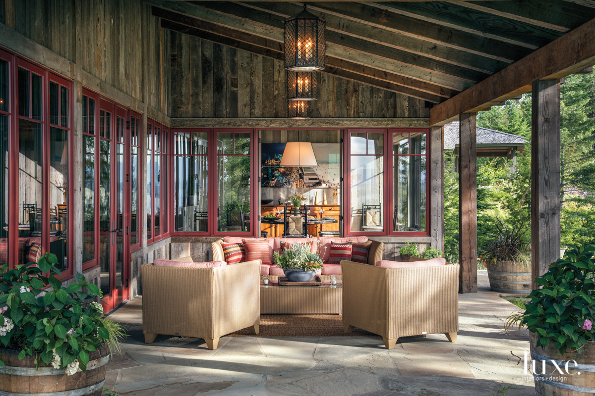 rustic outdoor sitting area red...