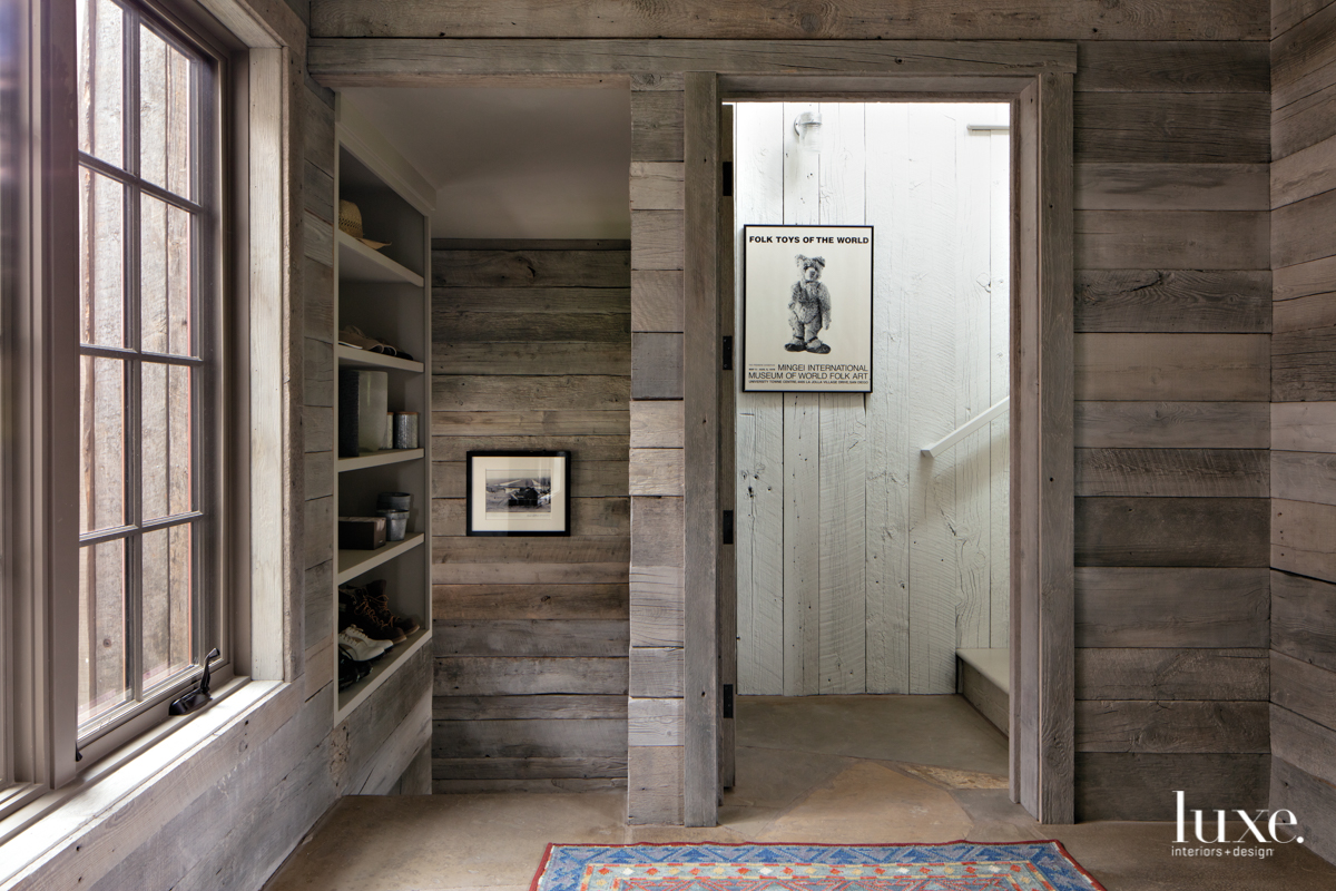rustic mudroom hallway staircase neutral
