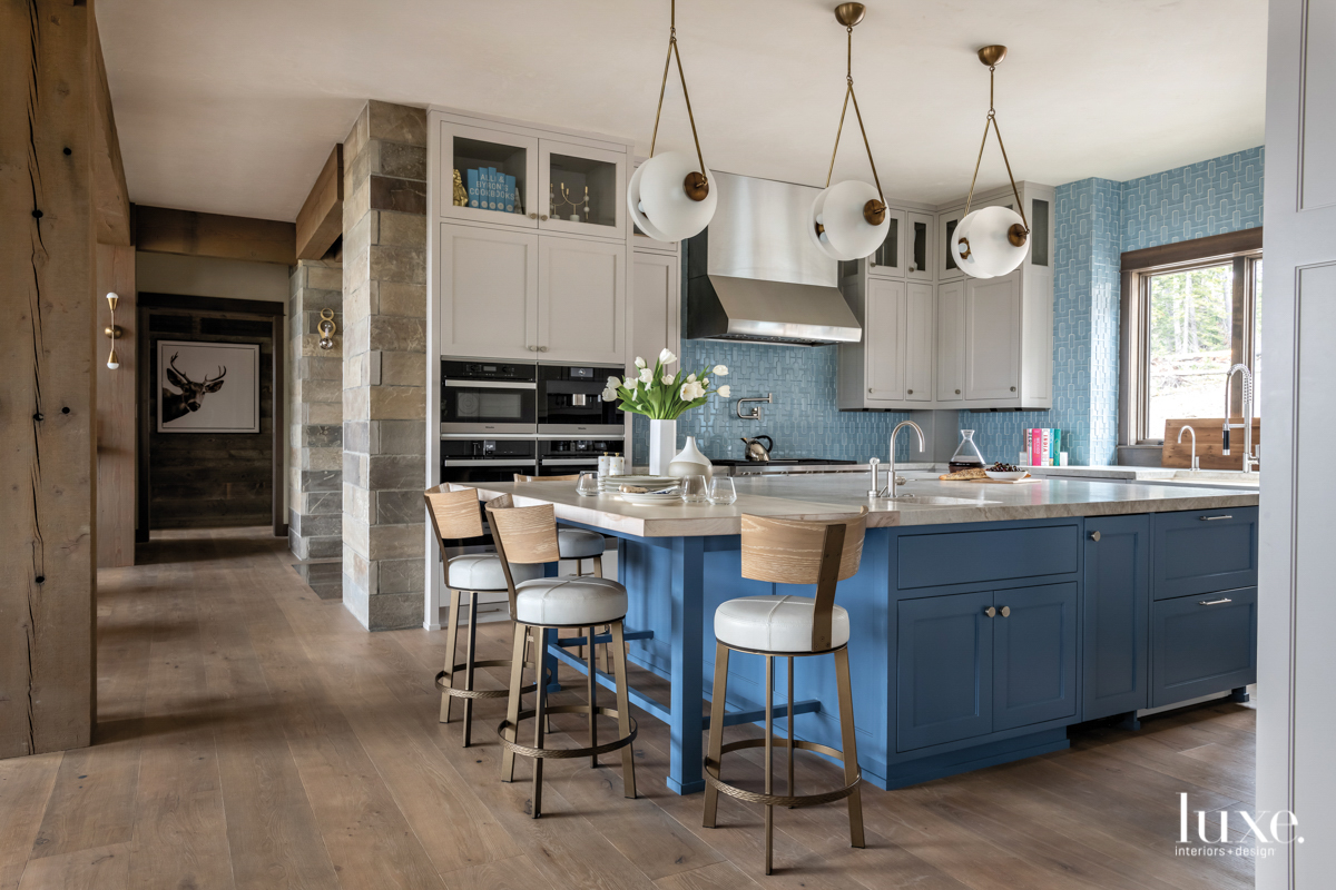 contemporary kitchen blue island and...