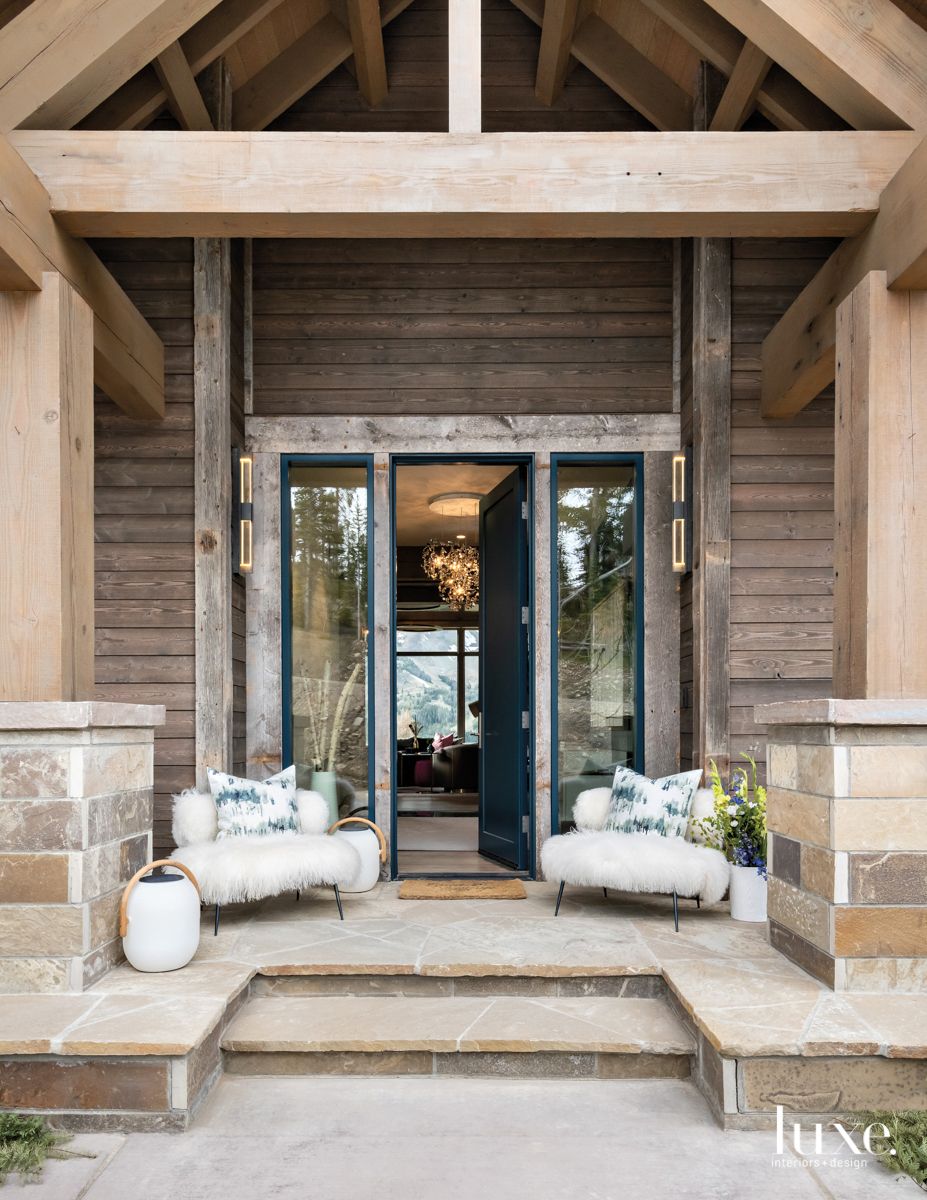 contemporary exterior entry and sitting...