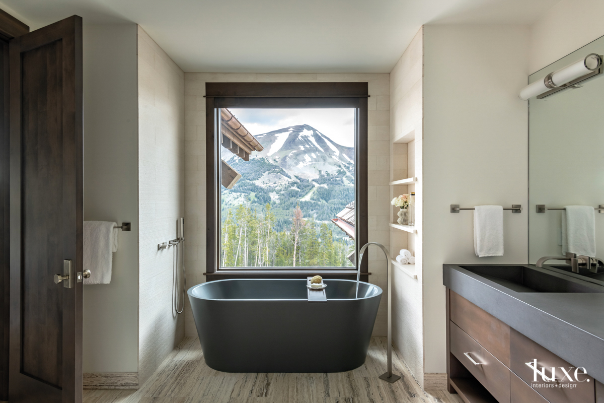 contemporary neutral bathroom gray freestanding...