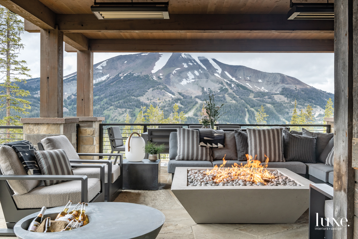 contemporary outdoor sitting area gray...