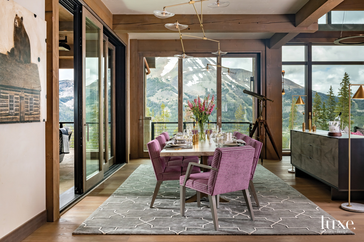 contemporary dining room pink chairs...