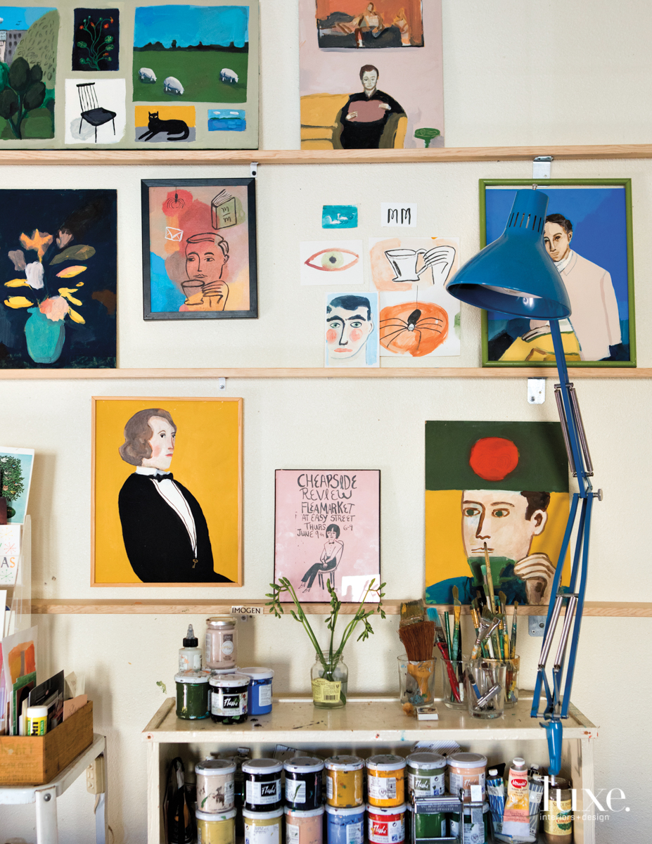 Doyle's work space has his paints and tools, and a smattering of paintings and ideas on paper.