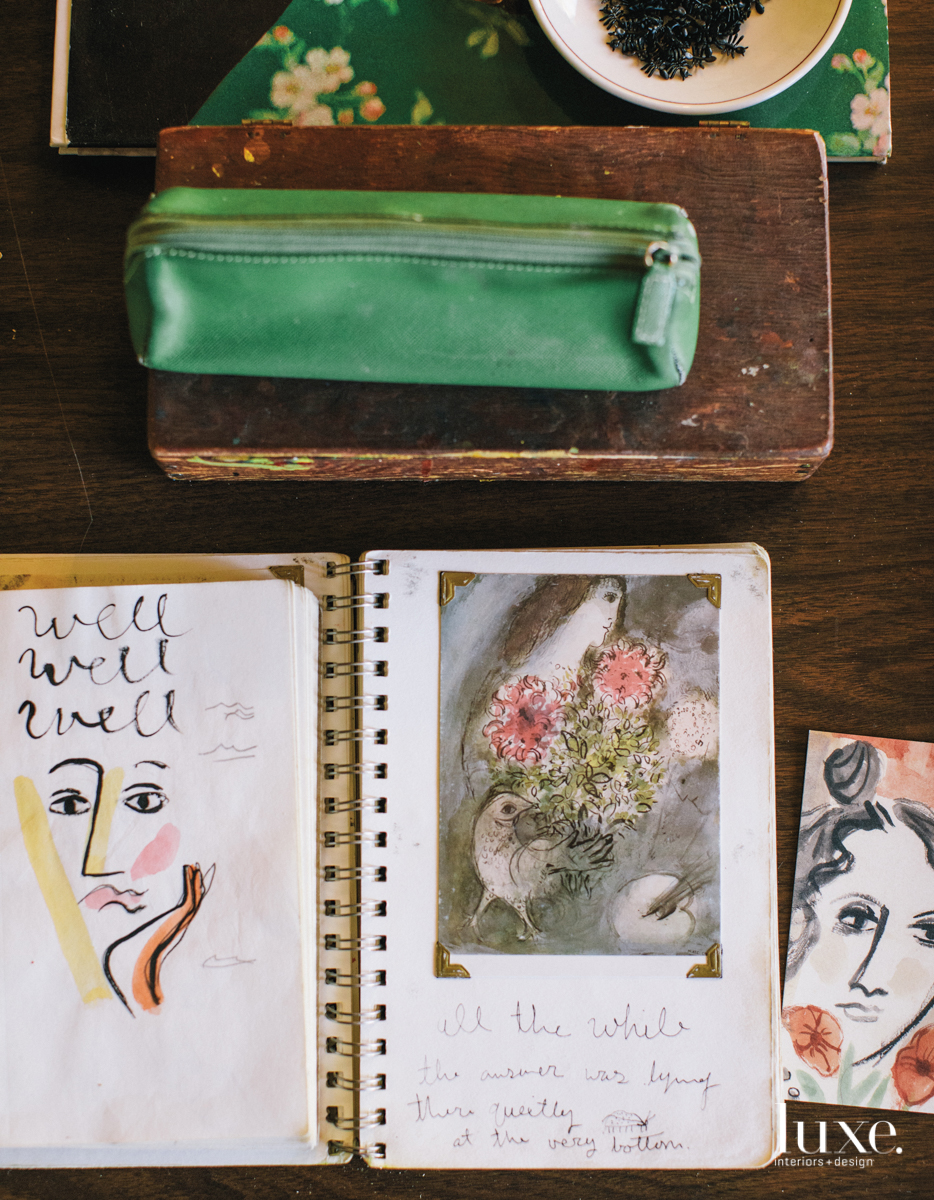 A notebook belonging to Doyle holds museum mementos and travel sketches.