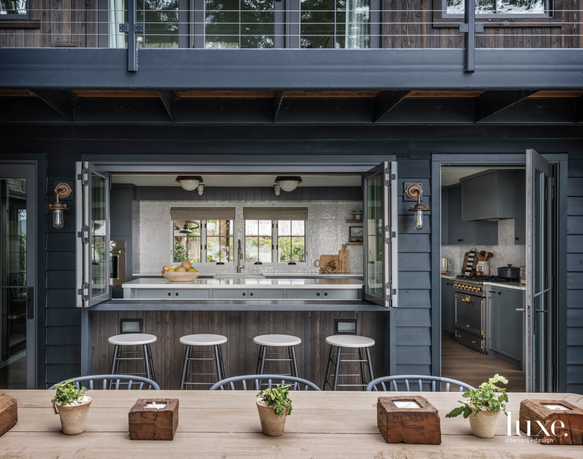 contemporary outdoor dining area gray...