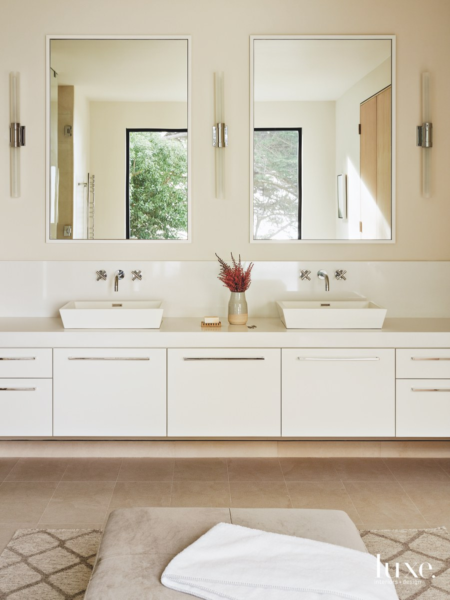 modern bathroom white cabinetry