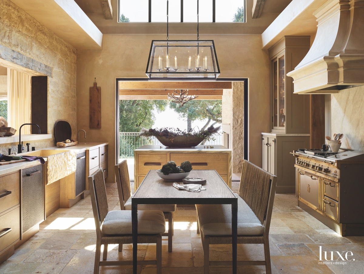 mediterranean neutral kitchen dining area...