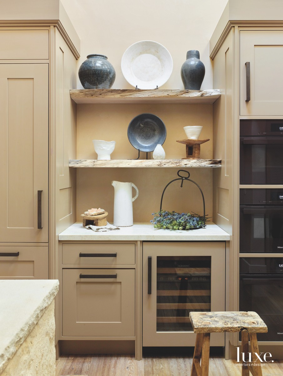 mediterranean neutral kitchen butler pantry...