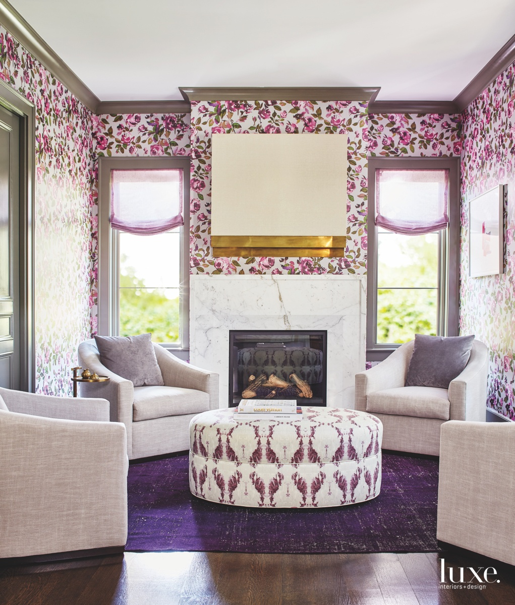 transitional living room purple
