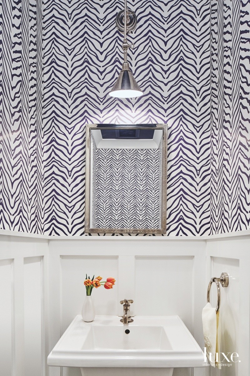 transitional bathroom patterned wallpaper sink...