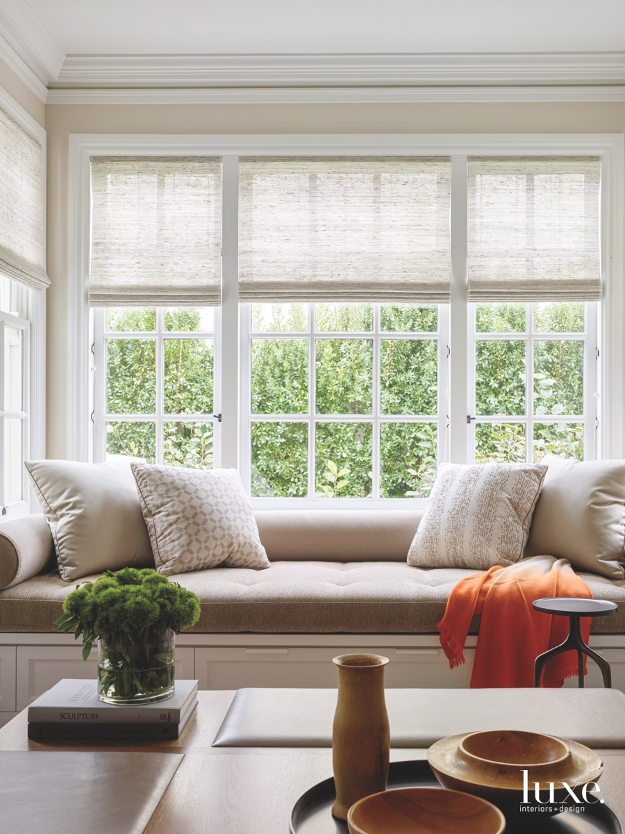 transitional family room window seat...
