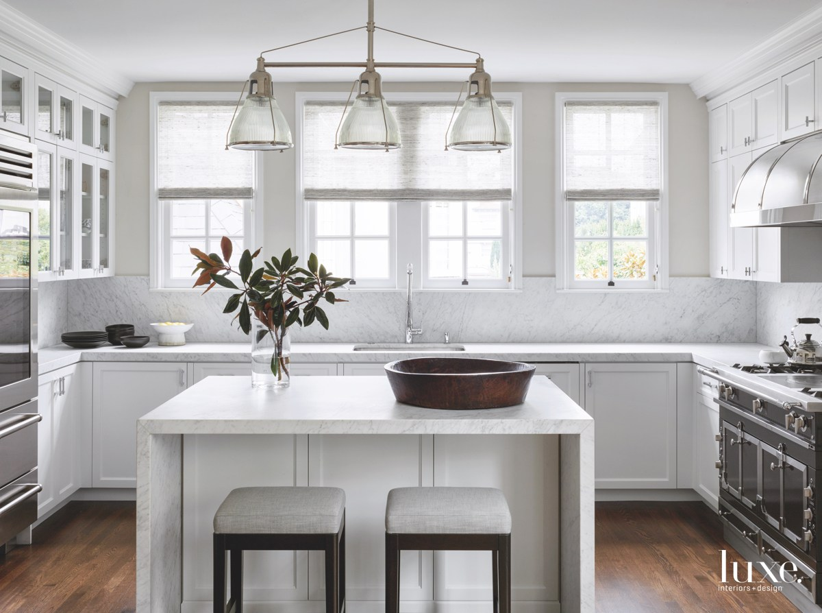 transitional white kitchen pendants oak...
