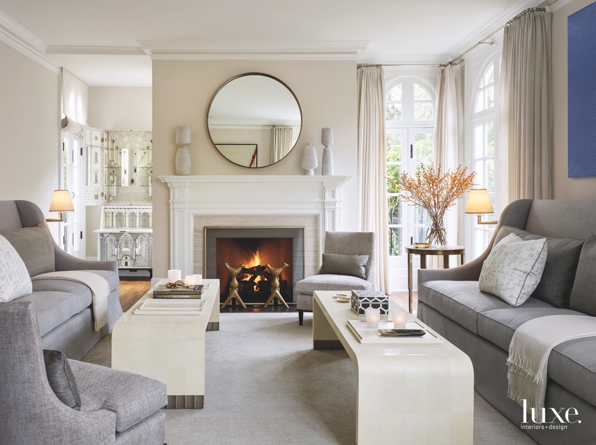 transitional living room gray sofas...