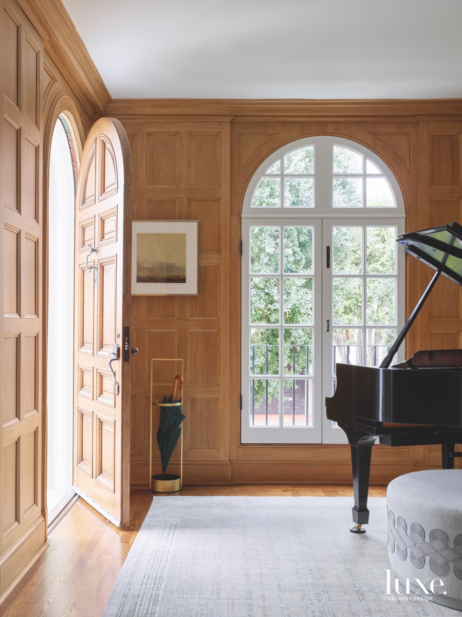 transitional entry door foyer piano...