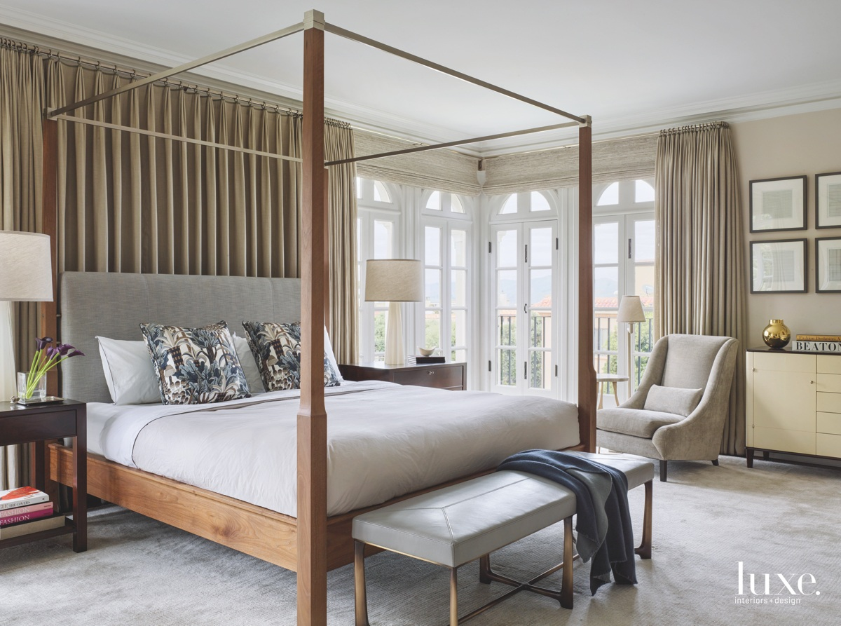 transitional neutral bedroom canopy bed...