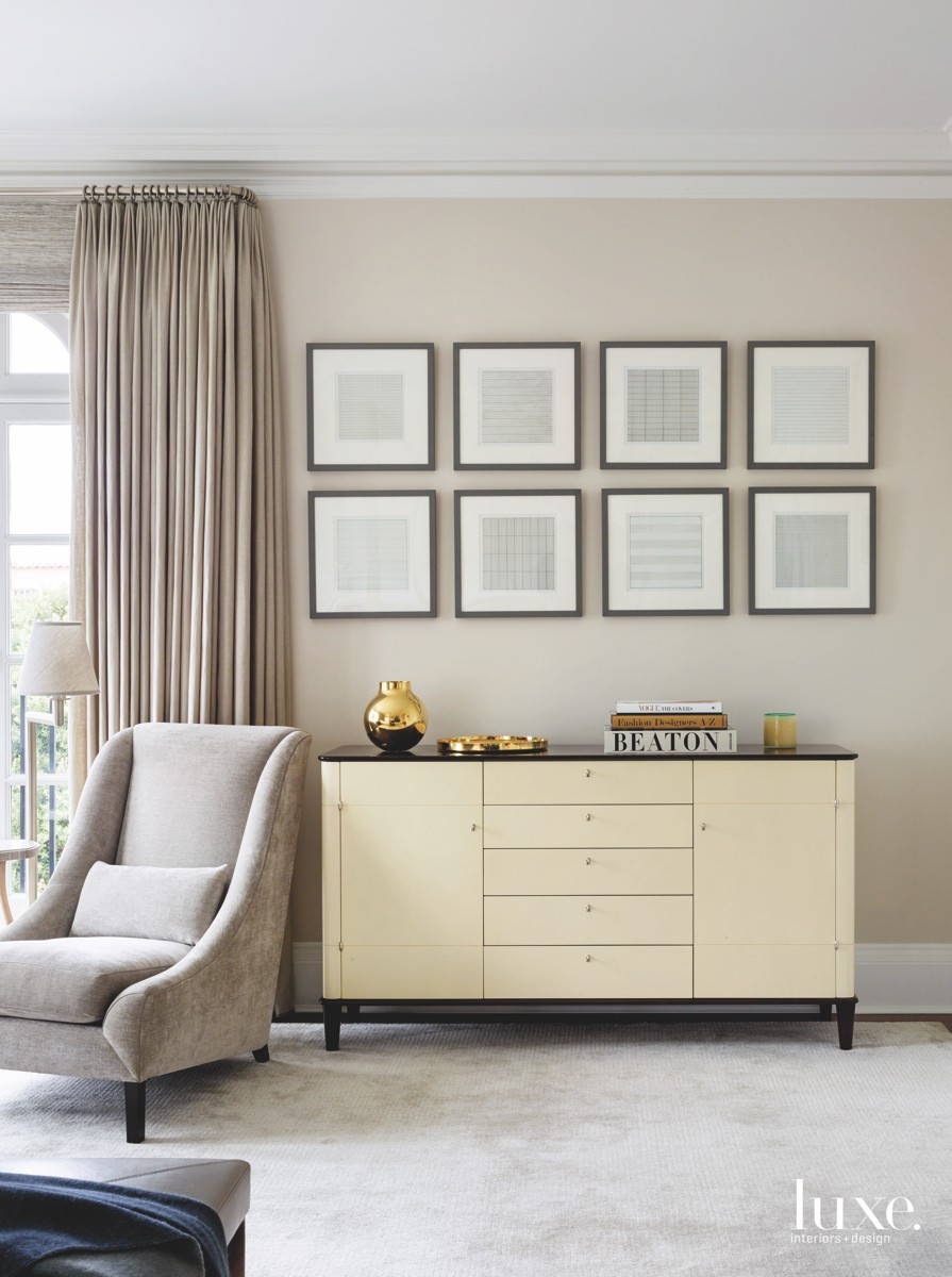 transitional bedroom neutral lithographs