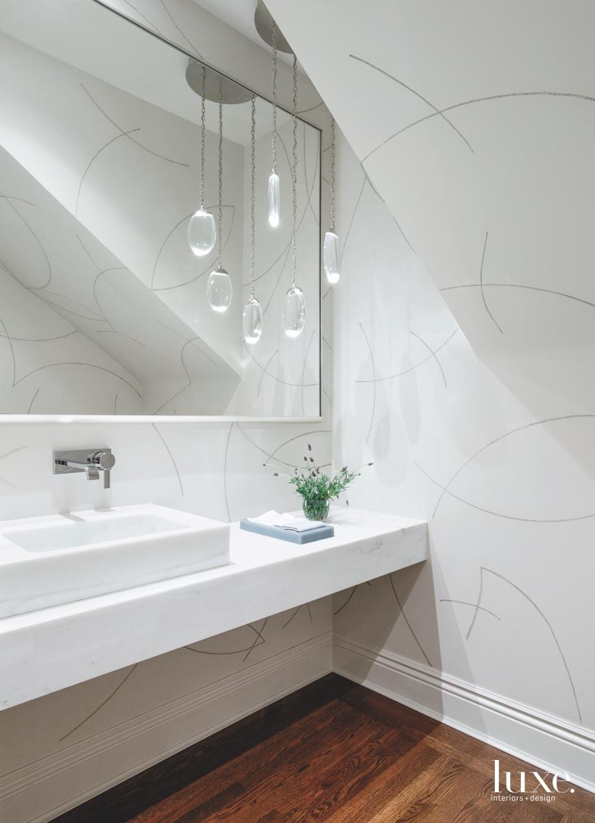 transitional white bathroom chandelier