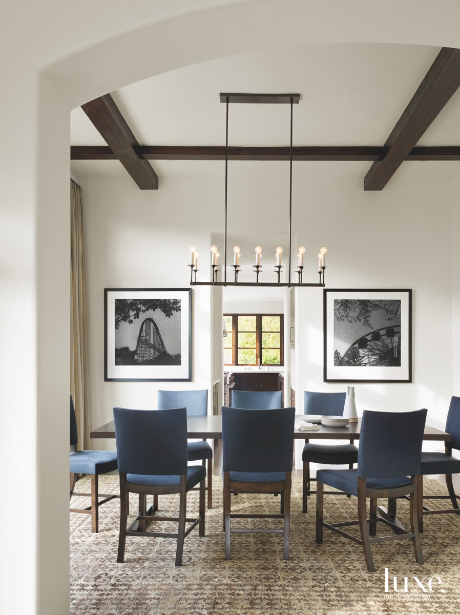 contemporary dining room blue chairs...
