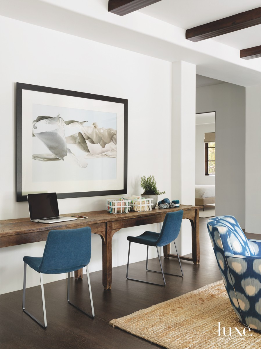 contemporary game room blue chairs