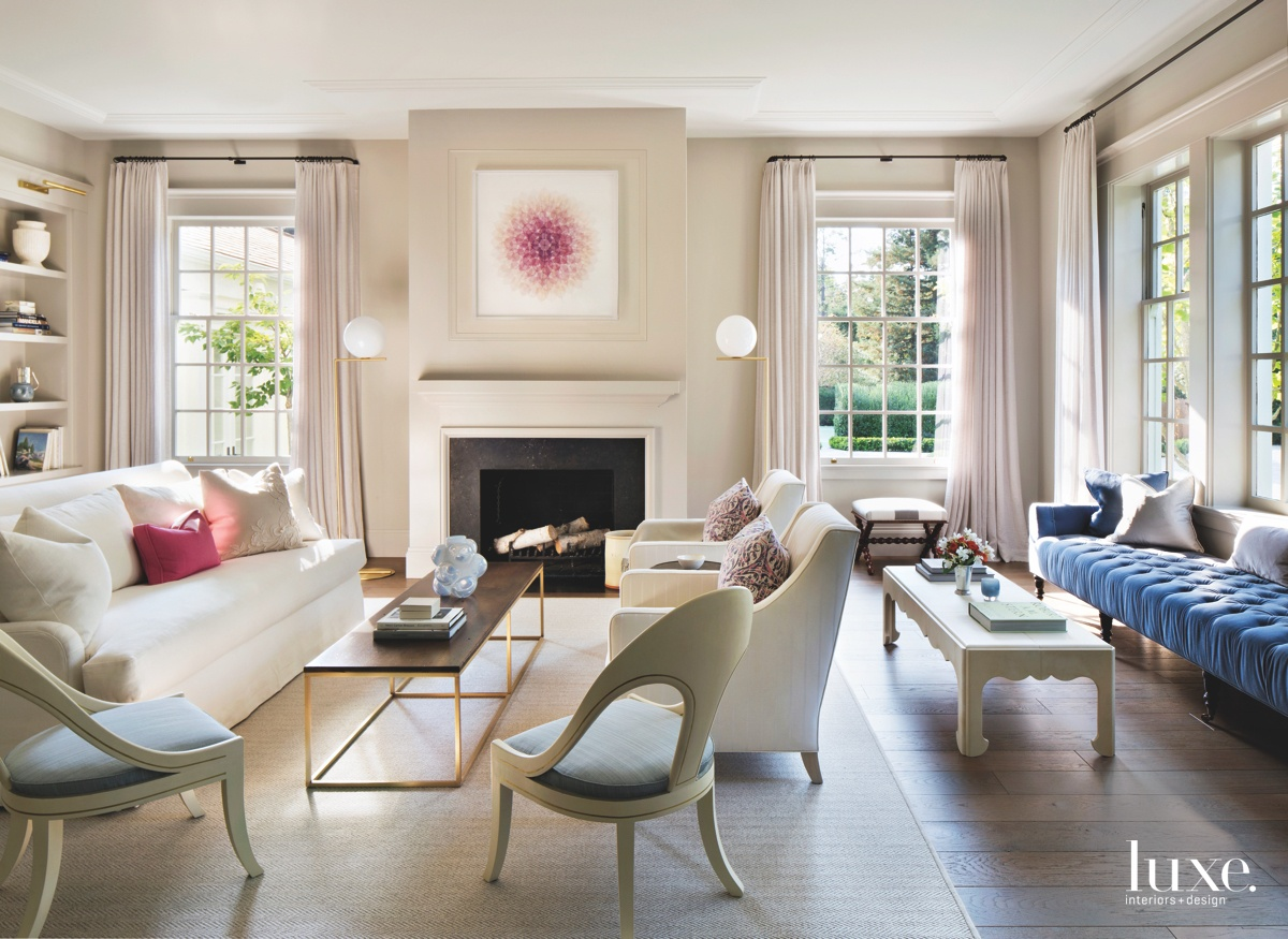 contemporary living room pink accents...
