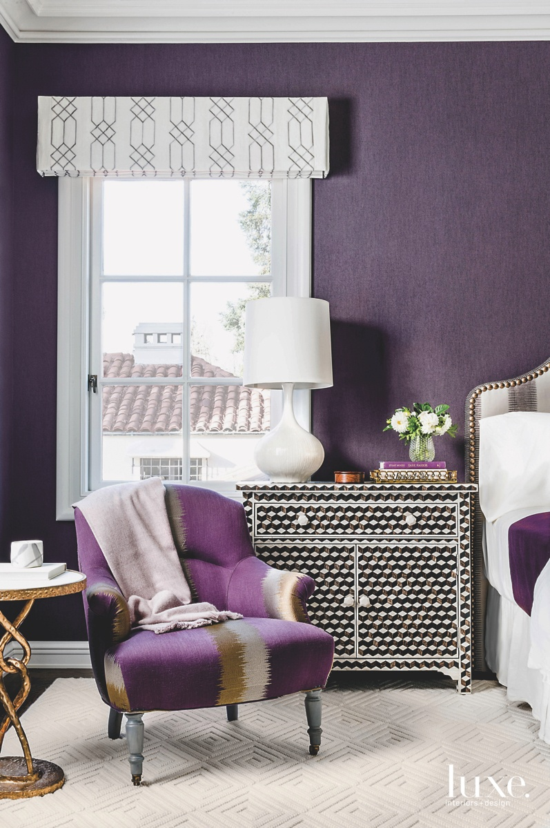 eclectic purple bedroom colorful chair