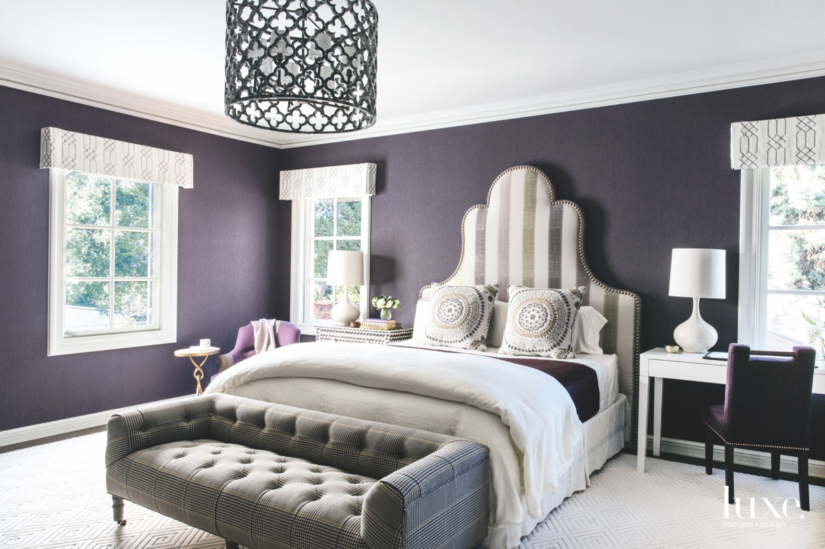 eclectic purple bedroom grey sofa