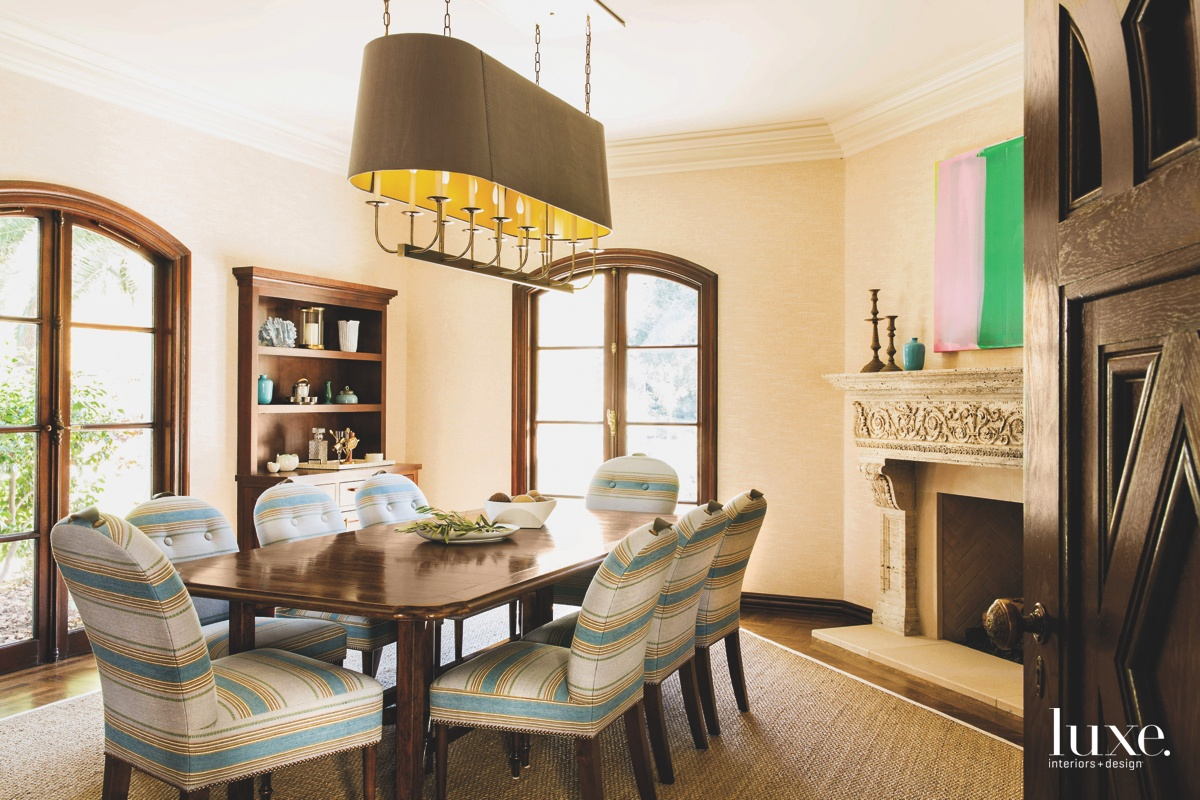 eclectic dining room fireplace striped...