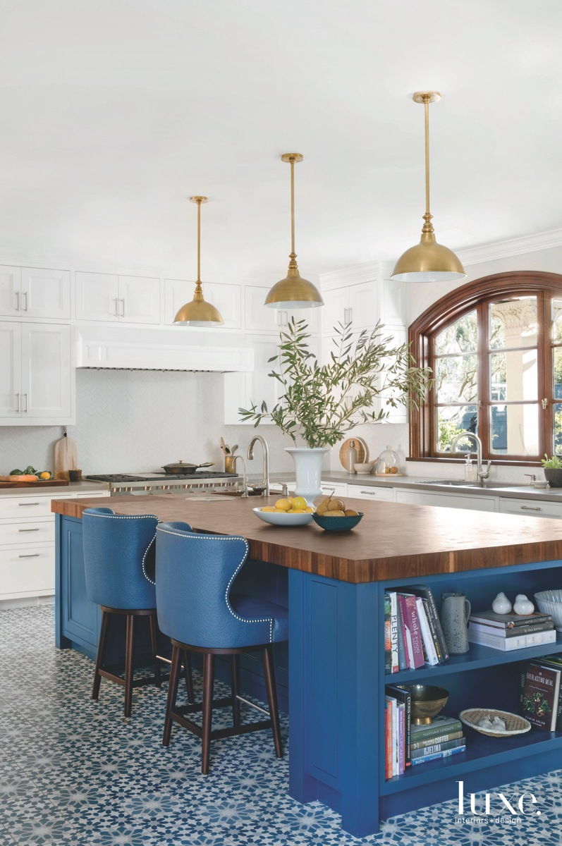 eclectic kitchen blue island and...