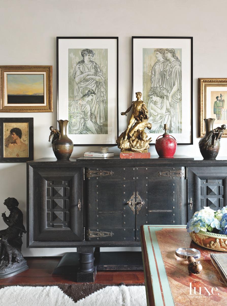 mediterranean living room black chest...